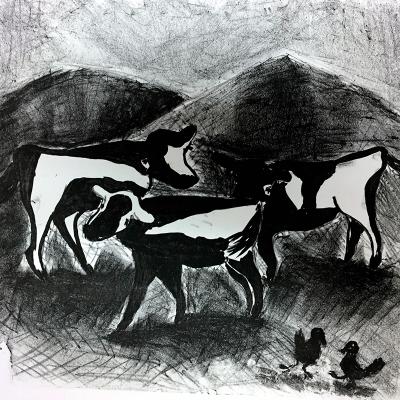 Sibelle Litografi-Cows-29x35