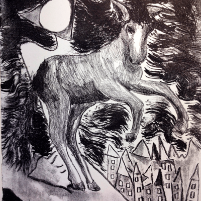 Sibelle Litografi-Horse-In-The-Light-Of-The-Night-26x20