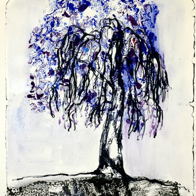 Sibelle Litografi-Monotypi-The-Blues-Tree-40x32
