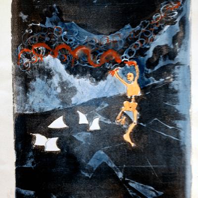 Litografi - akvarel - Creator 35cm x 27cm