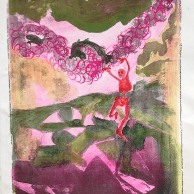 Litografi - akvarel - Creator l - 35cm x 27cm