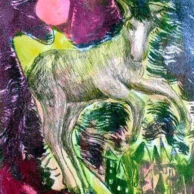 Litografi - akvarel - The horse - 26cm x 20cm