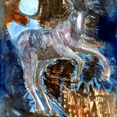 Litografi - akvarel - The horse l - 26cm x 20cm