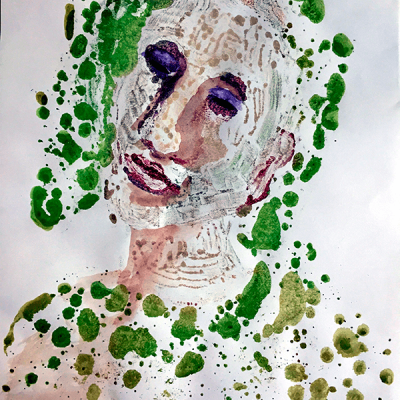 Madame green and purple - 46cm x 32cm